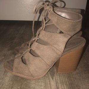 qupid suede lace up booties